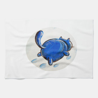 Gato azul en la nieve toallas