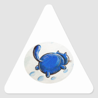 Gato azul en la nieve calcomanías trianguladas personalizadas