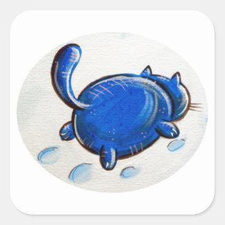 Gato azul en la nieve pegatina cuadrada