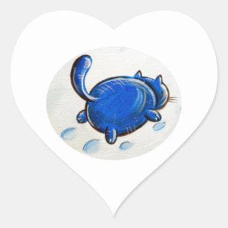 Gato azul en la nieve pegatina en forma de corazón