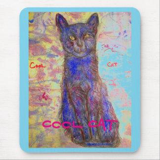 gato azul fresco alfombrilla de ratón