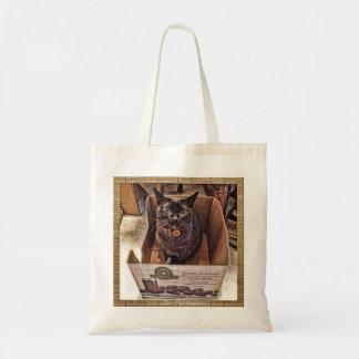 Gato birmano en una caja del ultramarinos bolsa tela barata