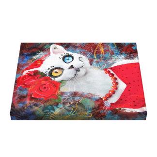 Gato blanco con los rosas lienzo