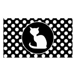 Gato blanco en lunares blancos y negros plantilla de tarjeta de visita