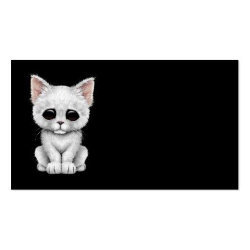 Gato blanco lindo triste del gatito en negro plantillas de tarjetas personales