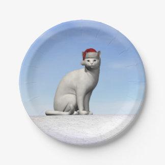 Gato blanco para el navidad - 3D rinden Plato De Papel