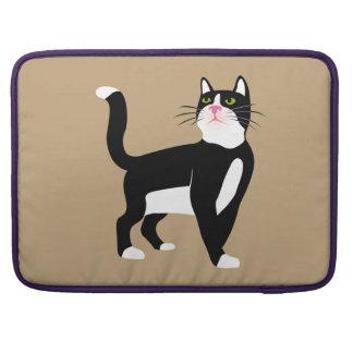Gato blanco y negro fundas para macbooks