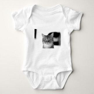 Gato blanco y negro que mira derecho usted body para bebé