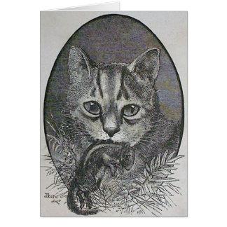 Gato con la tarjeta de Navidad del Victorian del