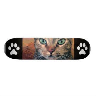 Gato con los ojos verdes monopatín personalizado
