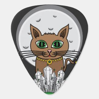Gato cósmico de la luna - azul/verde - púa de uñeta de guitarra