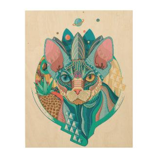 Gato cósmico de Sphynx Impresión En Madera