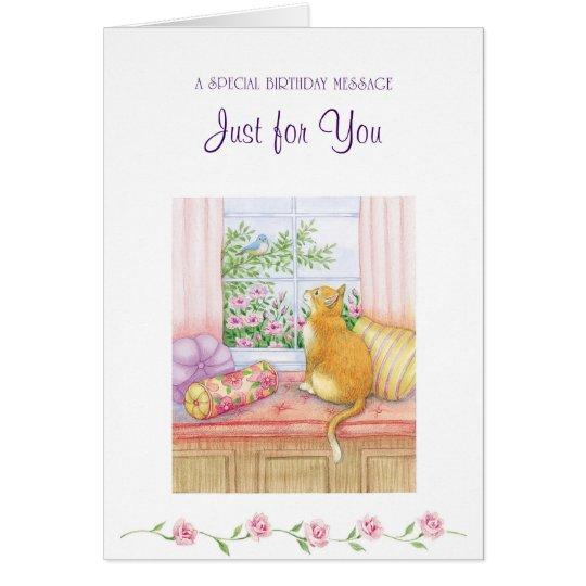 Gato de Brown con la tarjeta del Mensaje-Saludo