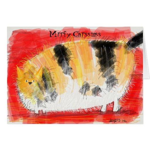 Gato de calicó en la edición del navidad de las ta tarjetón