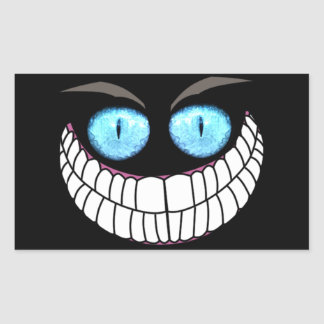 Gato de Cheshire - pegatinas de los ojos azules Pegatina Rectangular