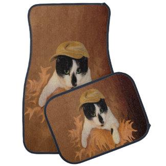 Gato de DA Fleuky del gitano y la bolsa de papel Alfombrilla De Coche