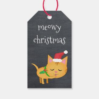Gato de encargo del navidad en etiquetas del etiquetas para regalos