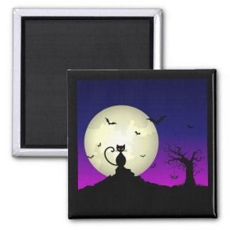 Gato de Halloween e imán de la luna