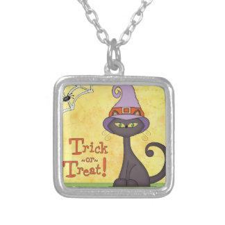Gato de Halloween en un gorra de las brujas Pendiente Personalizado