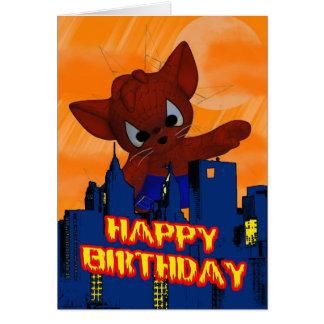 Gato de la araña de la tarjeta del cumpleaños de l