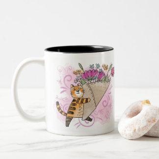 Gato de la flor de la primavera taza bicolor