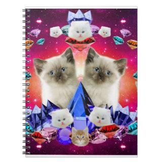 gato de la galaxia en diamante libros de apuntes con espiral