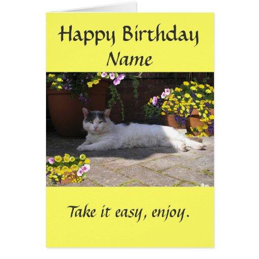 Gato de la tarjeta de cumpleaños del personalizar