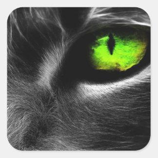 Gato de ojos verdes pegatina cuadradas personalizada