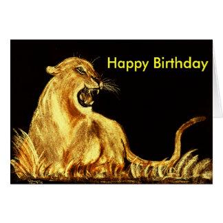 gato de oro, feliz cumpleaños felicitacion
