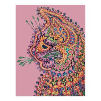 Gato de Pyschedelic de Louis Wain Postal