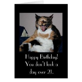 Gato de risa del feliz cumpleaños tarjeta pequeña