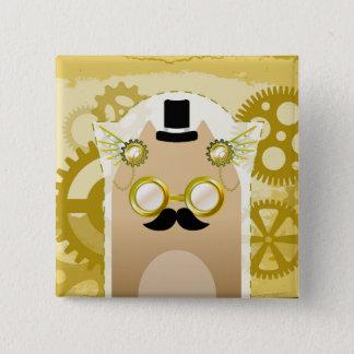 Gato de Steampunk botón del cuadrado de 2 pulgadas