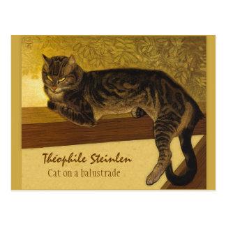 Gato de Théophile Steinlen en una barandilla 1909 Postal