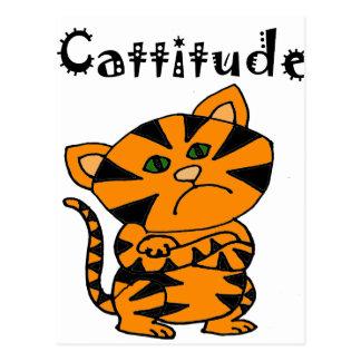 Gato de tigre divertido con Atitude Postal