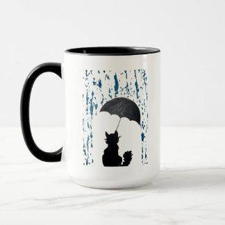 Gato debajo del paraguas taza