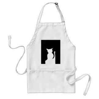 Gato - decoración blanco y negro del arte de la si delantales
