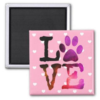 Gato del amor del corazón o imán rosado de la