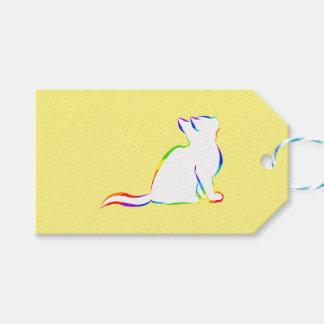 Gato del arco iris, terraplén blanco etiquetas para regalos