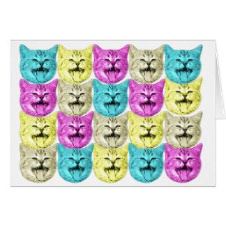 gato del color del arte pop tarjeta de felicitación