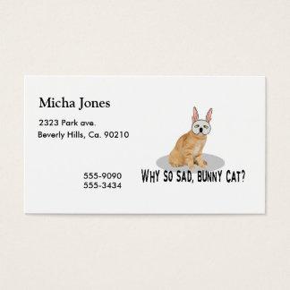 Gato del conejito triste tarjeta de negocios