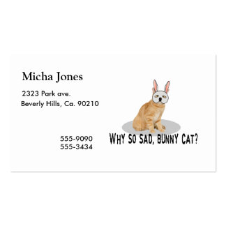 Gato del conejito triste tarjetas de visita