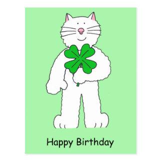 Gato del cumpleaños del día de St Patrick con el Postal