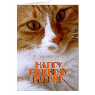 Gato del dulce de la hija del feliz cumpleaños tarjeta de felicitación