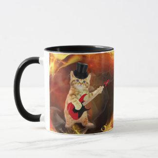 gato del eje de balancín en llamas taza