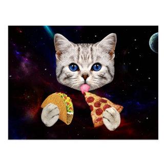 Gato del espacio con el taco y la pizza postal