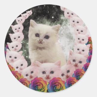 gato del espacio en flores pegatina redonda
