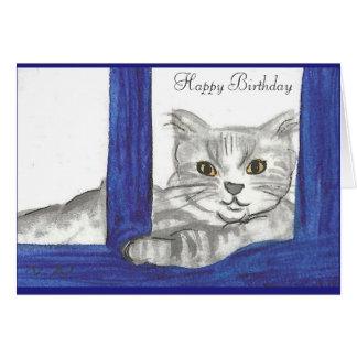 Gato del feliz cumpleaños de la tarjeta de