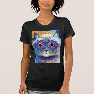Gato del flower power camiseta