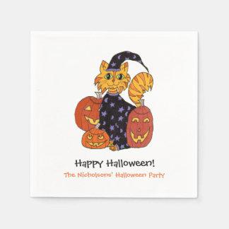 Gato del gatito del mago y fiesta de Halloween de Servilleta De Papel