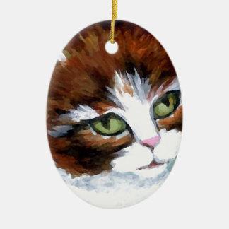 Gato del gatito que presenta los regalos del arte adorno ovalado de cerámica